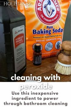Inexpensive. Effective. This easy to make 3 ingredient hydrogen peroxide scrub helps clean even the toughest grime and helps disinfect too! Pin this post to keep the recipe handy. It'll be part of your go-to cleaning arsenal before you know it. #holisticish #greencleaning #hydrogenperoxide #bakingsoda Cleaning With Peroxide, Peroxide Uses, Hydrogen Peroxide, Homemade Cleaning Products, Cleaning Recipes, Natural Sunburn Relief, Homemade Bug Spray, Wild Orange Essential Oil, Chemical Free Cleaning