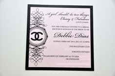 Coco Chanel themed bridal shower invitation. Designed and printed my MGS Marketing.