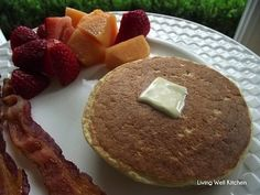 Protein Pancakes ~ a delicious breakfast recipe that's high in protein, gluten free, 100% whole grain.  Under 200 calories for the entire recipe {2 pancakes}