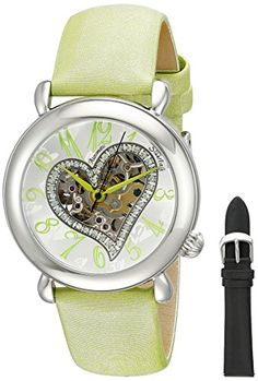 Women  Watches - Stuhrling Original Womens 109SW1215D2 Amour Stainless Steel Watch with Green Leather Band *** Check out the image by visiting the link. (This is an Amazon affiliate link)