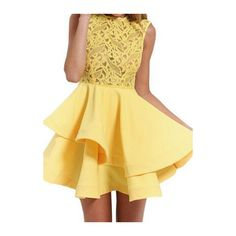 Rotita Sleeveless Lace Splicing Yellow Skater Dress ($25) found on Polyvore featuring dresses, yellow, yellow mini dress, mini dress, beige dress, a line dress and skater dress
