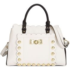 Betsey Johnson Studded Affair Satchel ($118) ❤ liked on Polyvore featuring bags, handbags, cream, white satchel purse, white satchel handbags, white handbags, satchel handbags and vegan leather purses