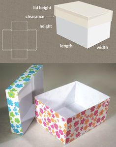 Completely custom sized template for a Box with lid - lots more shapes and sizes available at this site