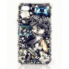 Austria Crystal Rhinestone Iphone4/4S Case-Black Fancy Color Diamonds