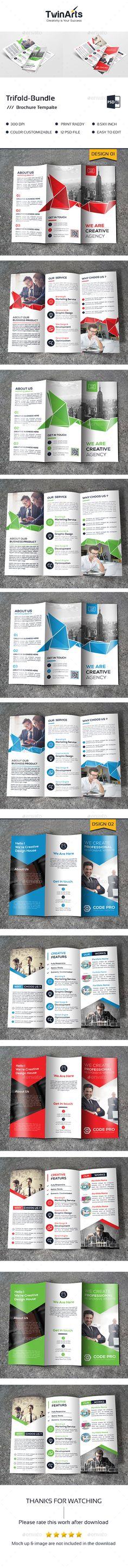 Trifold Brochure Bundle Templates PSD. Download here: https://graphicriver.net/item/trifold-bundle_2-in-1/17624037?ref=ksioks