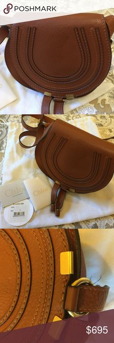 Marcie small saddle handbag Authentic! Purchased from Saks! Excellent condition! Minor thread coming out near closure (see photo). Comes with dust bag and authenticity card. Chloe Bags Crossbody Bags