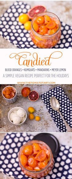 Candied citrus in blood orange syrup. Kumquats, meyer lemons, tangerines and blood oranges. A perfect holiday treat atop ice cream or chocolate cake!