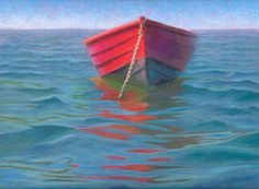 Rocking Gently Cape Cod Wooden Boat Pastel Painting by Poucher, painting by artist Nancy Poucher
