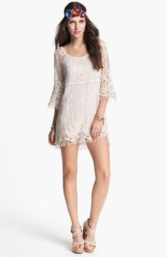 Would love this look, maybe a longer dress.    Mimi Chica Crochet Tunic (Juniors) available at #Nordstrom