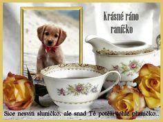 přáníčko Cute Images, Good Morning, Tea Cups, Humor, Cards, Birthday, Buen Dia, Bonjour, Humour
