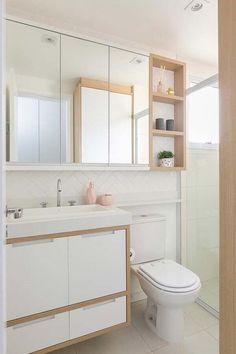 Espelheira com nicho é uma boa opção para decorar Washroom Design, Bathroom Design Small, Bathroom Interior Design, Small Bathrooms, Bad Inspiration, Bathroom Inspiration, Modern Master Bathroom, Bathroom Furniture, Rustic Furniture