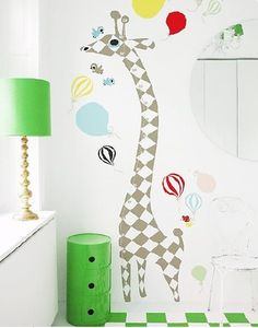 Giraffe measuring ruler wall decal harlequin #room #decorations
