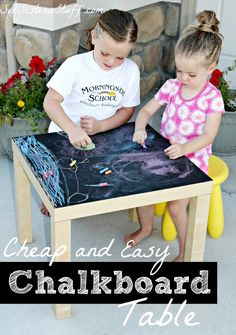Cheap and Easy Chalkboard Table from SixSistersStuff.com