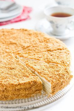 """Russian cake """"Napoleon"""" is Buttery, flaky pastry layers generously filled with sweet cream filling.."""