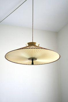 Modern classic danish brass opaline Orrefors glass ceiling light