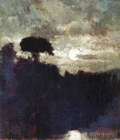Nokturn by Aleksander Gierymski. Medium: Oil on wood panel; Nocturne, Color Of Night, Painting Gallery, 8th Of March, Photo Reference, Artist Painting, Moonlight, Photo Art, Abstract