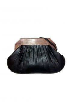 beautiful leather clutch with chunky wooden handles. want..