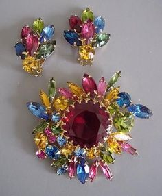 Weiss Multi-colored Rhinestone Brooch and Earrings