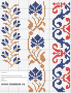 Cross-stitch Borders ... no color chart available, just use pattern chart as your color guide.. or choose your own colors...