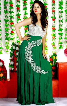 Picture of Alluring Bottle Green Color Fashion Designer Gown