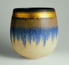 Exquisite ... Hazel Johnston (1933 – 2011) - PORCELAIN BOWL WITH OXIDE AND LUSTRE BANDING 16CMS