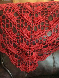 Southbay Shawlette pattern from lion brand yarn. Made with lion brand vann glamor yarn.