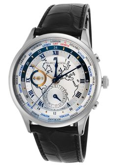Maurice Lacroix MP6008-SS001-111 Watches,Men's Masterpiece Automatic GMT Black Leather Silver-Tone Dial SS, Luxury Maurice Lacroix Automatic Watches