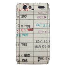 Vintage Library Due Date Cards Droid RAZR Covers