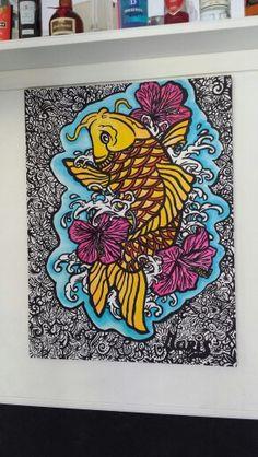 tattoostyle koi colour canvas 60x80cm