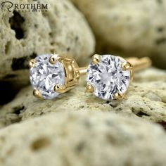 2ct Diamond Starfish Earrings Solitaire 14k White Gold Brilliant Round