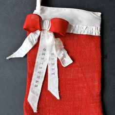 Items similar to Red Burlap Christmas Stocking on Etsy Burlap Christmas Stockings, Burlap Stockings, Christmas Decorations, Holiday Decor, Gift Wrapping, Trending Outfits, Unique Jewelry, Handmade Gifts, Red
