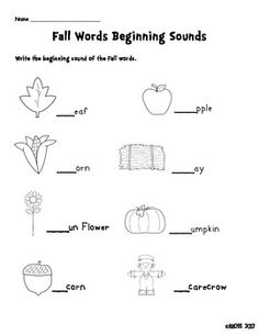 Fall words beginning sounds