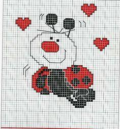 Schema punto croce Coccinella-heart