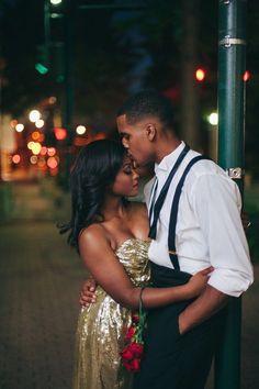 Glamorous black tie engagement shoot  