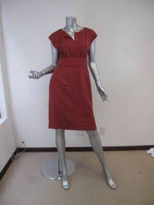 Dolce Gabbana Muted Red Slit Neck Waist Band Dress 42 | eBay