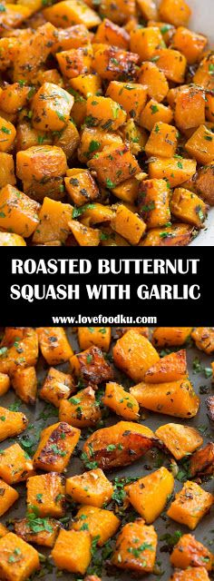 Roasted Butternut Squash with Garlic and Herbs - Food Recipes Herb Recipes, Garlic Recipes, Roast Recipes, Vegetable Recipes, Vegetarian Recipes, Recipes Dinner, Fall Recipes, Butternut Squash Side Dish, Vegan Butternut Squash Recipes