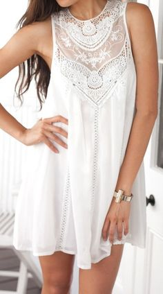 white sleeveless with lace dress