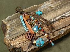 Native Tassel  Tribal Charms  Purse Charm  by StoneWearDesigns