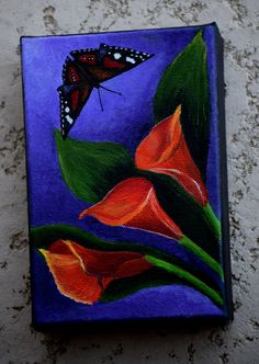 Butterfly Painting - Calla Lillies & Butterfly - nature, original acrylic canvas painting,  Calla Li
