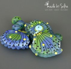Handmade lampwork beads set Ocean Shells by BeadsBySilke
