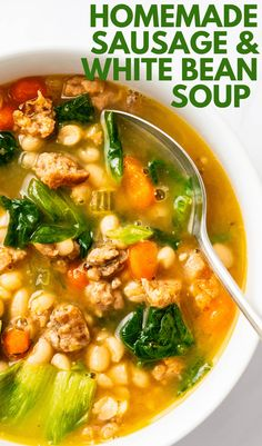 This simple, easy homemade navy bean soup is made with dried beans, Italian sausage and escarole lettuce. It's brothy, hearty and makes a big pot to feed a crowd. Learn how to cook dried beans for the best, classic bean soup ever. #beansoup #driedbeans Chili Recipes, Soup Recipes, Free Recipes, Recipies, Winter Dinner Recipes, Easy Dinner Recipes, Escarole Soup, Cooking Dried Beans, Haitian Food Recipes