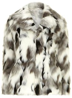 White and grey fur coat