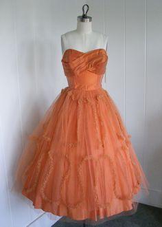 orange vintage prom dress...looks just like what my Grandma wore!