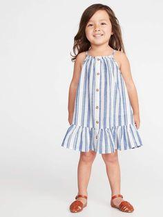Old Navy Toddlers' Patterned Button-Front Tiered-Hem Sundress Blue Stripe Size Girls Toddler Fashion Kids Frocks, Frocks For Girls, Little Girl Outfits, Little Girl Fashion, Toddler Girl Dresses, Toddler Outfits, Girls Dresses, Sun Dresses, Baby Dresses