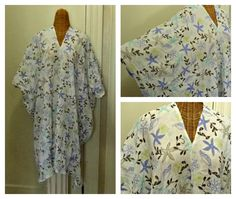 White Sealife Caftan One Size Fits Size Small to 6X Knee Dress Cotton Gauze Cover Up Womens Resort Wear Plus by SavoyFaireSpa on Etsy