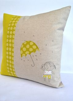 Continuing with my rainy umbrella theme here is my latest cushion featuring a little girl with an umbrella! Created with free machine emb...