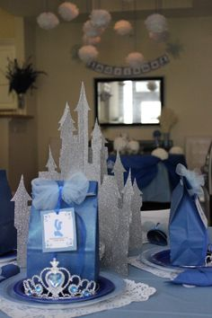 Cinderella Birthday - kids table with goodie bags.