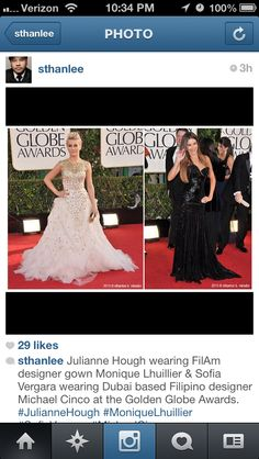 Filipino couture dress (wedding) designers. Julianne Hough wearing FilAm designer gown Monique Lhuillier & Sofia Vergara wearing Dubai-based Filipino designer Michael Cinco at the 70th Annual Golden Globe Awards.