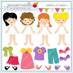 Dress Up Girl Cute Digital Clipart for by JWIllustrations on Etsy, $5.00