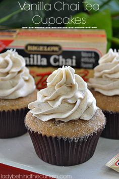 Vanilla Chai Tea Cupcakes - Lady Behind The Curtain #recipe #dessert #cake